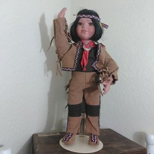 Path Finder Native American Boy Porcelain Doll